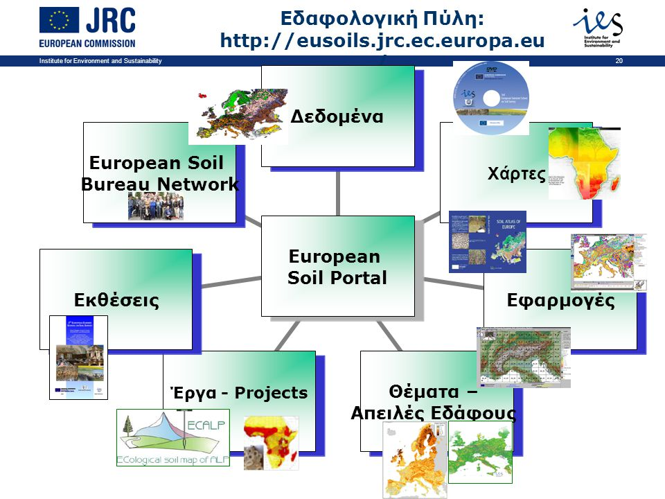 Institute for Environment and Sustainability20 Εδαφολογική Πύλη: http://eusoils.jrc.ec.europa.eu /