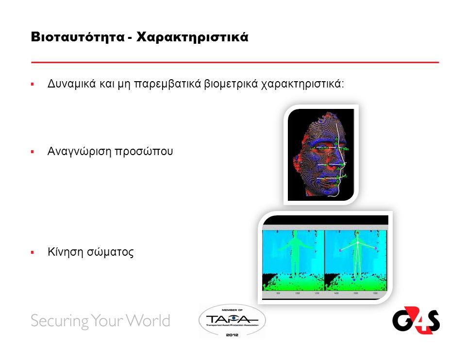 Βιοταυτότητα - Χαρακτηριστικά  Δυναμικά και μη παρεμβατικά βιομετρικά χαρακτηριστικά:  Αναγνώριση προσώπου  Κίνηση σώματος