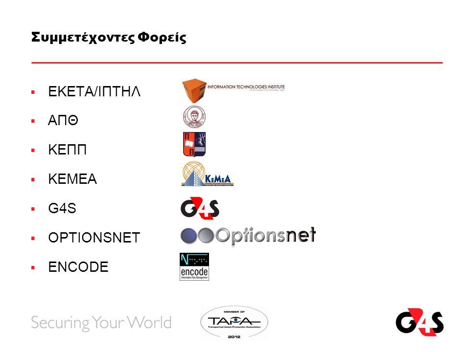 Συμμετέχοντες Φορείς  ΕΚΕΤΑ/ΙΠΤΗΛ  ΑΠΘ  ΚΕΠΠ  ΚΕΜΕΑ  G4S  OPTIONSNET  ENCODE