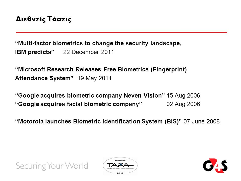 Διεθνείς Τάσεις Multi-factor biometrics to change the security landscape, IBM predicts 22 December 2011 Microsoft Research Releases Free Biometrics (Fingerprint) Attendance System 19 May 2011 Google acquires biometric company Neven Vision 15 Aug 2006 Google acquires facial biometric company 02 Aug 2006 Motorola launches Biometric Identification System (BIS) 07 June 2008