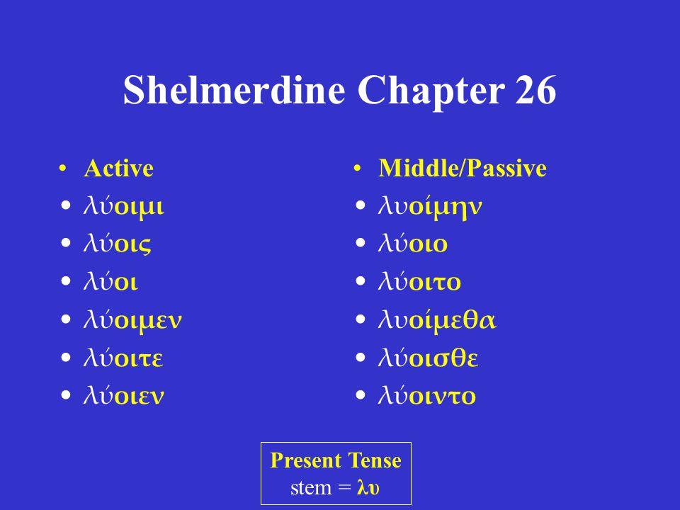 Shelmerdine Chapter 26 •Active •λύοιμι •λύοις •λύοι •λύοιμεν •λύοιτε •λύοιεν •Middle/Passive •λυοίμην •λύοιο •λύοιτο •λυοίμεθα •λύοισθε •λύοιντο Present Tense stem = λυ