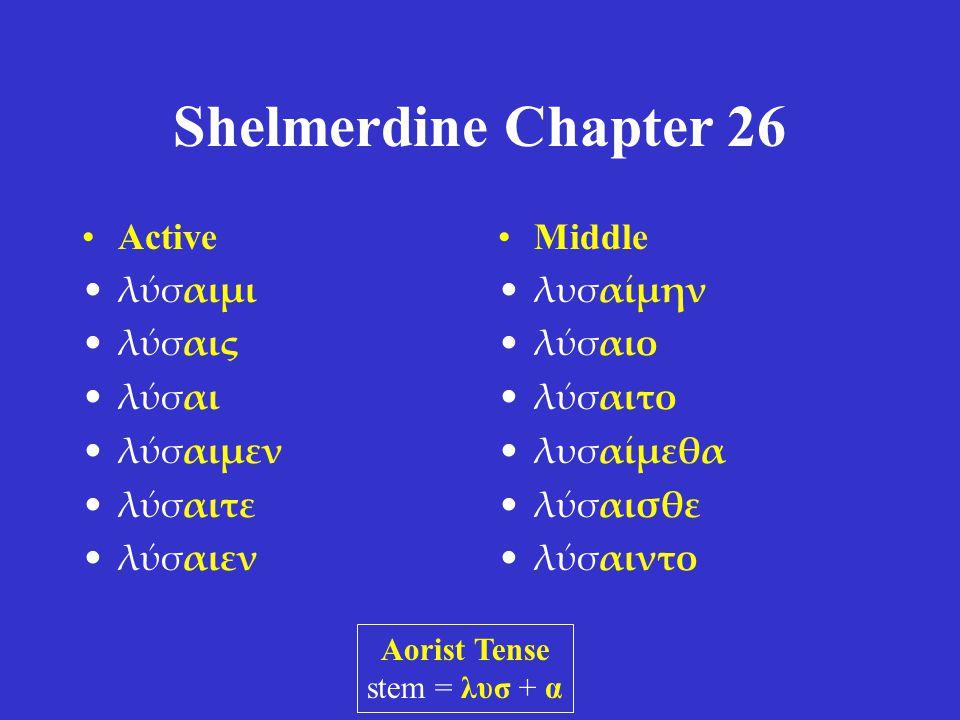 Shelmerdine Chapter 26 •Active •λύσαιμι •λύσαις •λύσαι •λύσαιμεν •λύσαιτε •λύσαιεν •Middle •λυσαίμην •λύσαιο •λύσαιτο •λυσαίμεθα •λύσαισθε •λύσαιντο Aorist Tense stem = λυσ + α