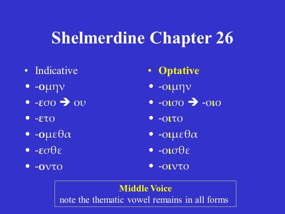 Shelmerdine Chapter 26 •Indicative •-ομην •-εσο  ου •-ετο •-ομεθα •-εσθε •-οντο •Optative •-οιμην •-οισο  -οιο •-οιτο •-οιμεθα •-οισθε •-οιντο Middle Voice note the thematic vowel remains in all forms