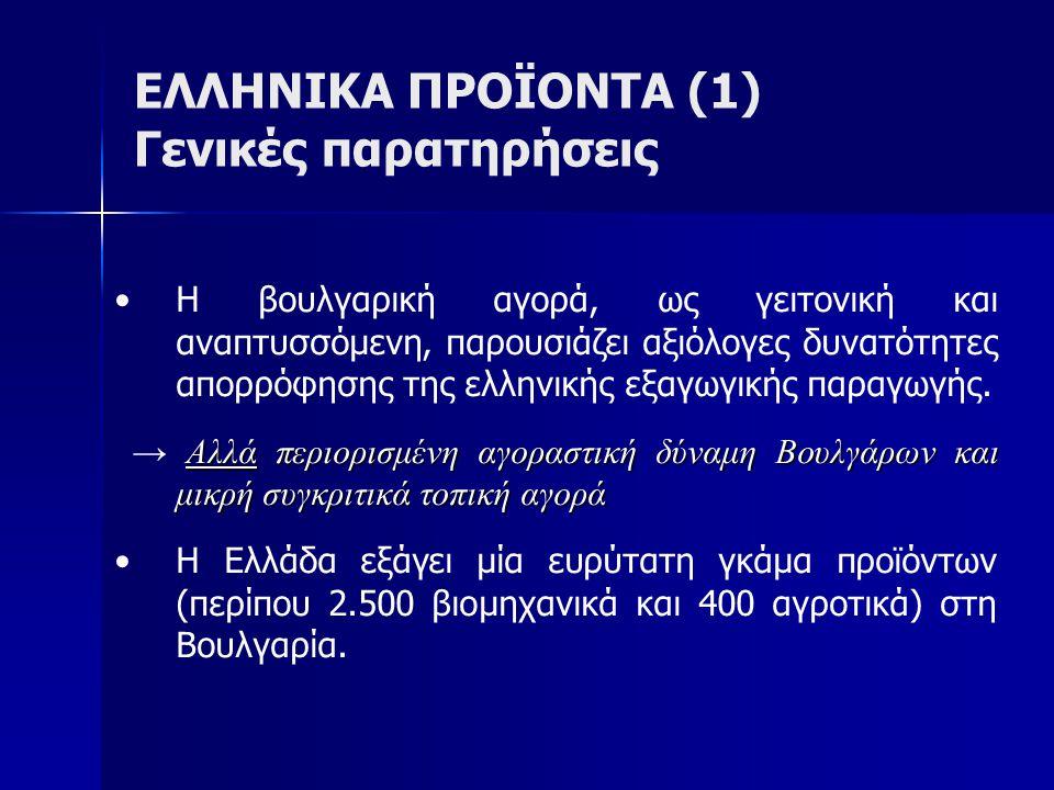 ΕΛΛΗΝΙΚΑ ΠΡΟΪΟΝΤΑ (2) Διάρθρωση ελληνικών εξαγωγών (2012) Η Ελλάδα εξάγει στη Βουλγαρία κυρίως:   Ορυκτά καύσιμα   Βιομηχανικά είδη (π.χ.