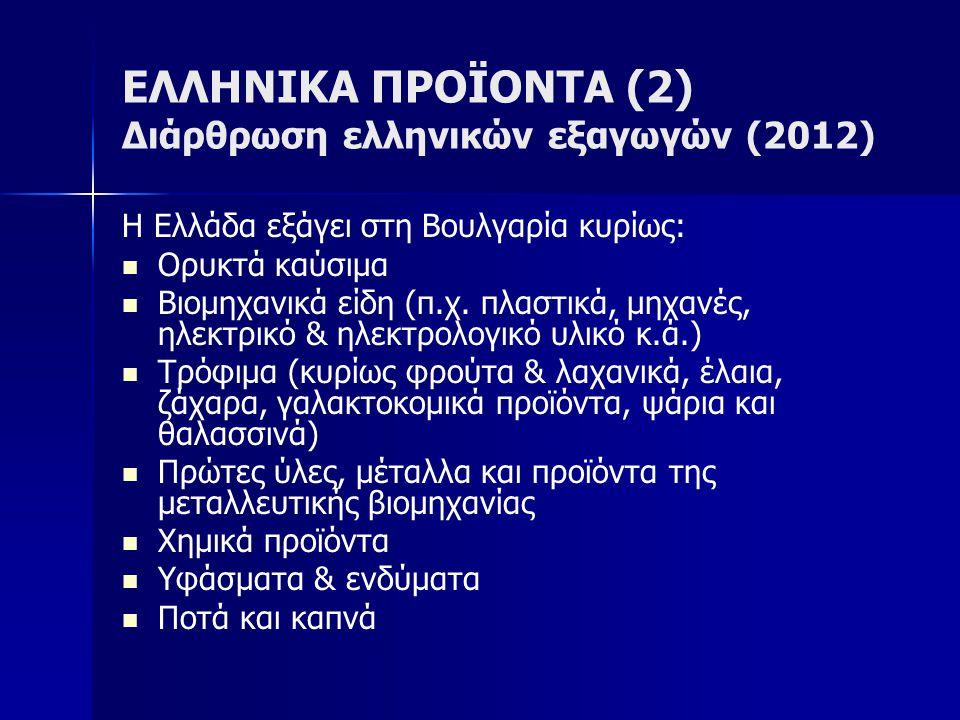 ΕΛΛΗΝΙΚΑ ΠΡΟΪΟΝΤΑ (2) Διάρθρωση ελληνικών εξαγωγών (2012) Η Ελλάδα εξάγει στη Βουλγαρία κυρίως:   Ορυκτά καύσιμα   Βιομηχανικά είδη (π.χ. πλαστικά