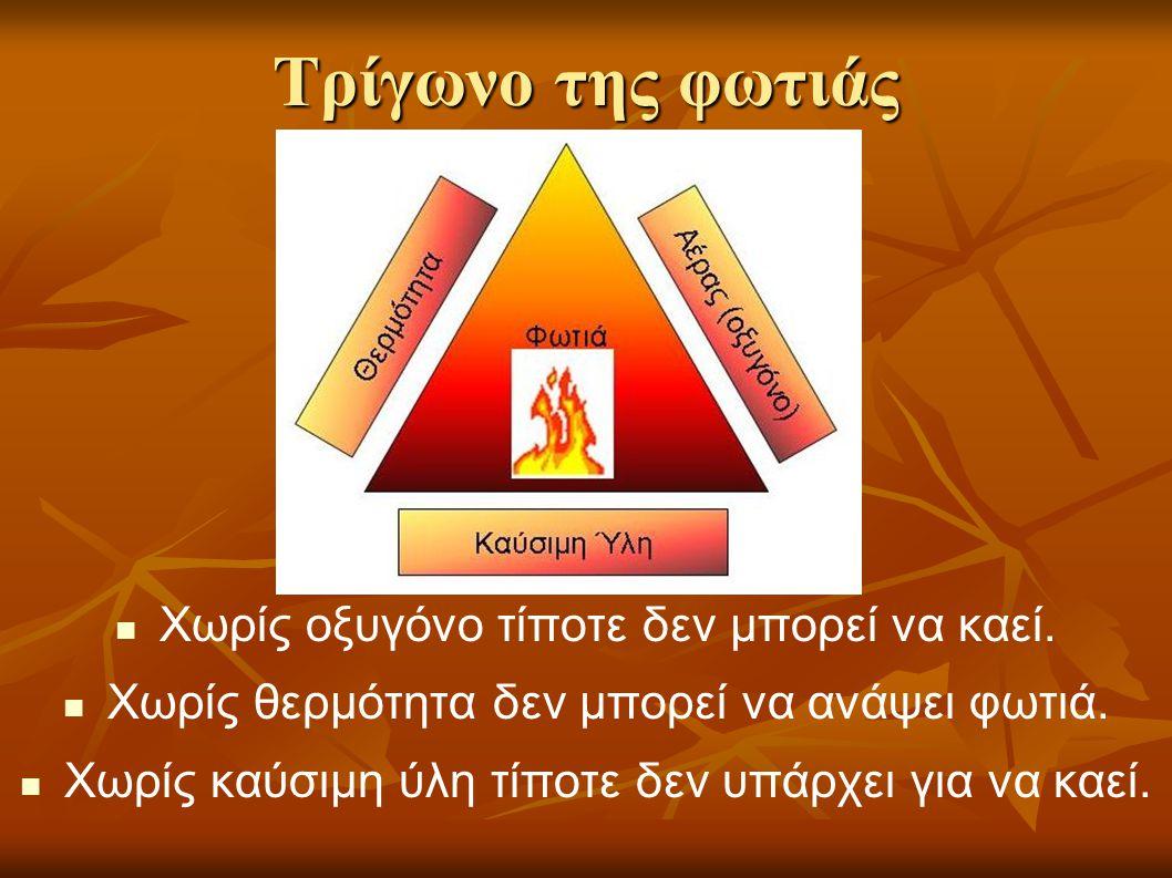 Τρίγωνο της φωτιάς   Χωρίς οξυγόνο τίποτε δεν μπορεί να καεί.   Χωρίς θερμότητα δεν μπορεί να ανάψει φωτιά.   Χωρίς καύσιμη ύλη τίποτε δεν υπάρχ