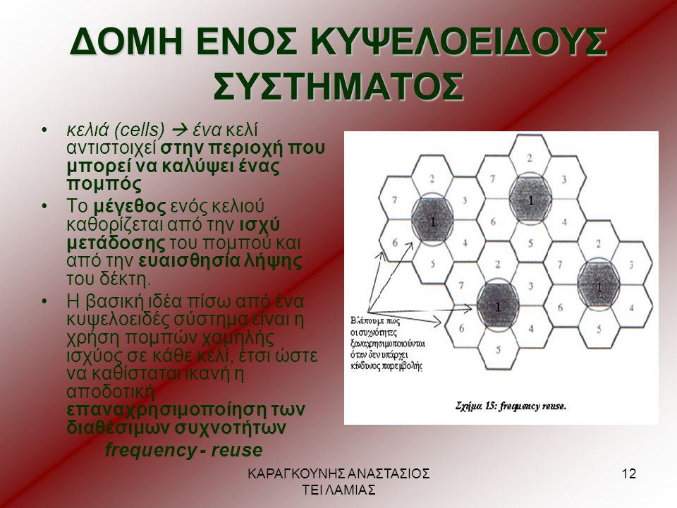 ΚΑΡΑΓΚΟΥΝΗΣ ΑΝΑΣΤΑΣΙΟΣ ΤΕΙ ΛΑΜΙΑΣ 12 ΔΟΜΗ ΕΝΟΣ ΚΥΨΕΛΟΕΙΔΟΥΣ ΣΥΣΤΗΜΑΤΟΣ •κελιά (cells)  ένα κελί αντιστοιχεί στην περιοχή που μπορεί να καλύψει ένας π