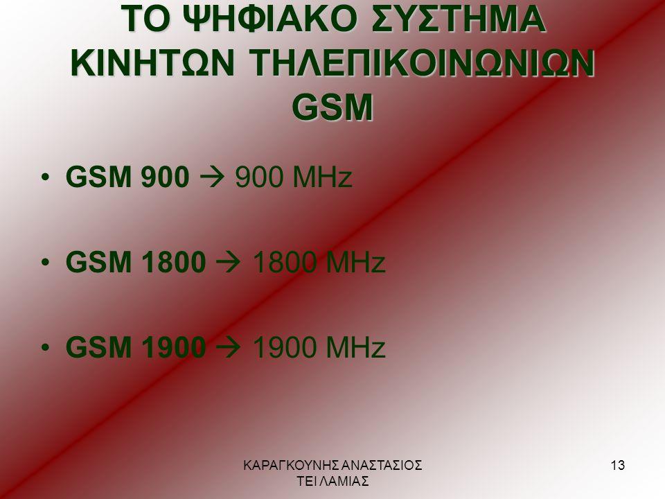 ΚΑΡΑΓΚΟΥΝΗΣ ΑΝΑΣΤΑΣΙΟΣ ΤΕΙ ΛΑΜΙΑΣ 13 ΤΟ ΨΗΦΙΑΚΟ ΣΥΣΤΗΜΑ ΚΙΝΗΤΩΝ ΤΗΛΕΠΙΚΟΙΝΩΝΙΩΝ GSM •GSM 900  900 MHz •GSM 1800  1800 MHz •GSM 1900  1900 MHz