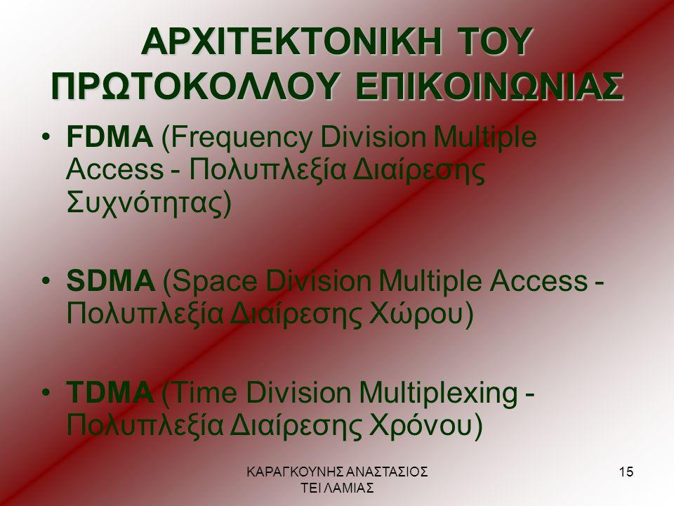 ΚΑΡΑΓΚΟΥΝΗΣ ΑΝΑΣΤΑΣΙΟΣ ΤΕΙ ΛΑΜΙΑΣ 15 ΑΡΧΙΤΕΚΤΟΝΙΚΗ ΤΟΥ ΠΡΩΤΟΚΟΛΛΟΥ ΕΠΙΚΟΙΝΩΝΙΑΣ •FDMA (Frequency Division Multiple Access - Πολυπλεξία Διαίρεσης Συχνό