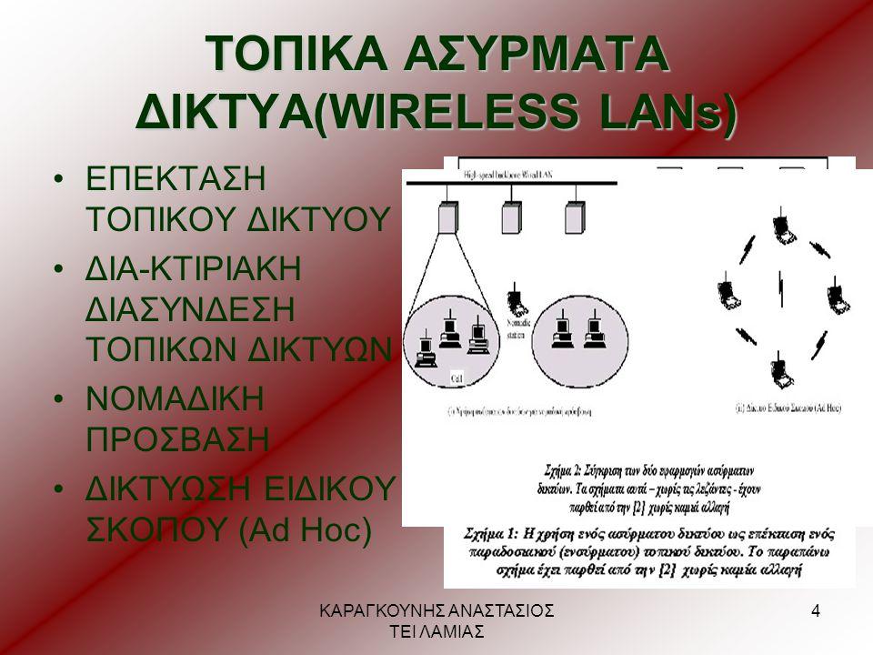 ΚΑΡΑΓΚΟΥΝΗΣ ΑΝΑΣΤΑΣΙΟΣ ΤΕΙ ΛΑΜΙΑΣ 5 ΑΝΑΓΚΑΙΕΣ ΠΡΟΫΠΟΘΕΣΕΙΣ •υψηλή χωρητικότητα •ικανότητα κάλυψης μικρών αποστάσεων •πλήρης συνδεσιμότητα •δυνατότητα εκπομπής (broadcasting) •αποδοτική χρήση του μέσου μετάδοσης •αριθμός Κόμβων •σύνδεση σε ραχοκοκαλιά τοπικού δικτύου •περιοχή Εξυπηρέτησης (Service area) •οικονομική κατανάλωση ενέργειας μπαταρίας