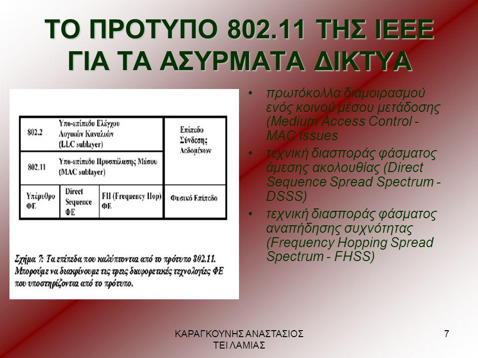 ΚΑΡΑΓΚΟΥΝΗΣ ΑΝΑΣΤΑΣΙΟΣ ΤΕΙ ΛΑΜΙΑΣ 8 ΑΡΧΙΤΕΚΤΟΝΙΚΗ ΤΟΥ ΠΡΟΤΥΠΟΥ ΙΕΕΕ 802.11 •κυψελοειδής αρχιτεκτονική •κάθε κελί ελέγχεται από ένα Σταθμό - Βάσης (Base Station) •Βασικό Σύνολο Υπηρεσιών (Basic Service Set - BSS) •Σημείο Πρόσβασης (Access Point - AP) •Σύστημα Διανομής (Distribution System - DS) •Εκτεταμένο Σύνολο Υπηρεσιών (Extended Service Set - ESS) πύλη (Portal) δρομολογητή (router)
