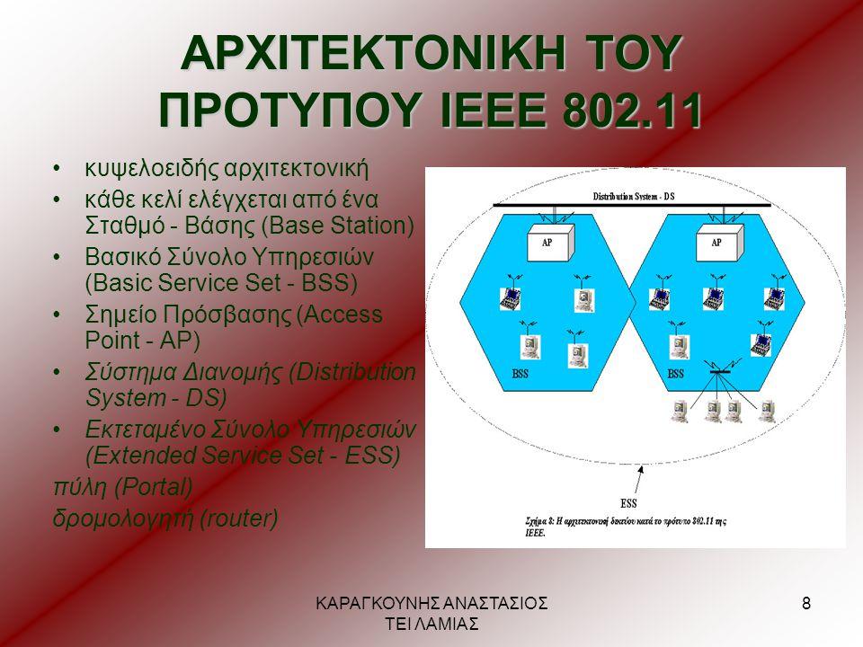ΚΑΡΑΓΚΟΥΝΗΣ ΑΝΑΣΤΑΣΙΟΣ ΤΕΙ ΛΑΜΙΑΣ 8 ΑΡΧΙΤΕΚΤΟΝΙΚΗ ΤΟΥ ΠΡΟΤΥΠΟΥ ΙΕΕΕ 802.11 •κυψελοειδής αρχιτεκτονική •κάθε κελί ελέγχεται από ένα Σταθμό - Βάσης (Bas