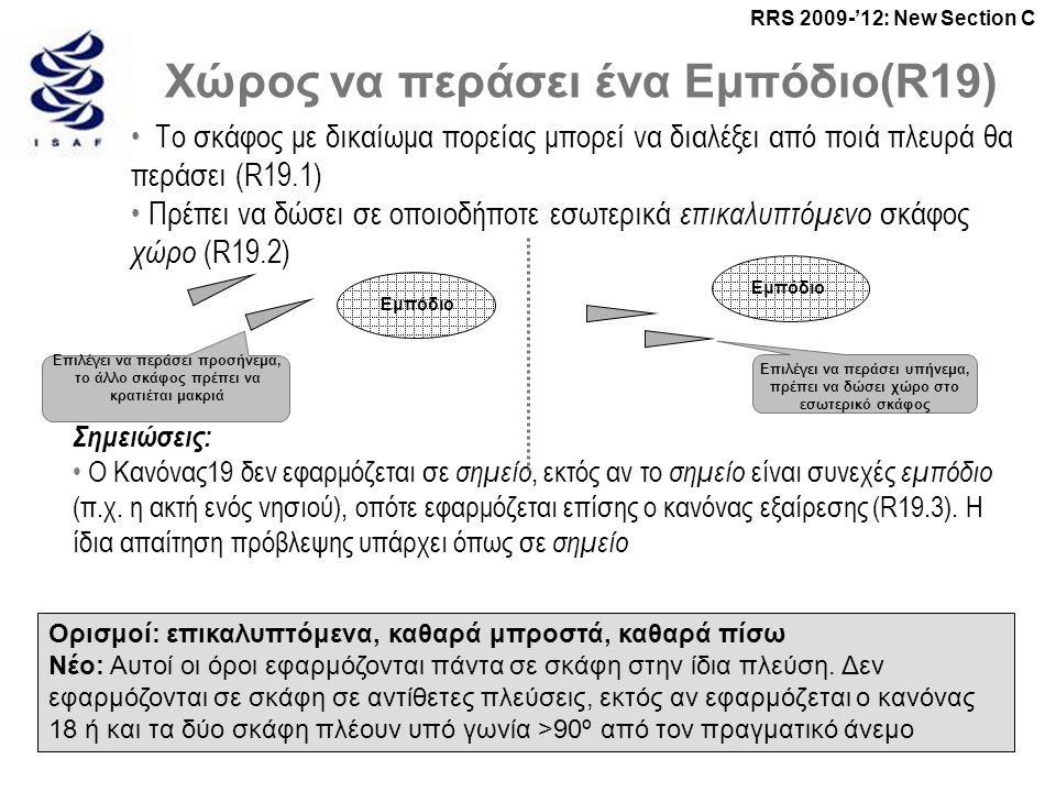 RRS 2009-'12: New Section C Χώρος να περάσει ένα Εμπόδιο(R19) • Το σκάφος με δικαίωμα πορείας μπορεί να διαλέξει από ποιά πλευρά θα περάσει (R19.1) • Πρέπει να δώσει σε οποιοδήποτε εσωτερικά επικαλυπτόμενο σκάφος χώρο (R19.2) Ορισμοί: επικαλυπτόμενα, καθαρά μπροστά, καθαρά πίσω Νέο: Αυτοί οι όροι εφαρμόζονται πάντα σε σκάφη στην ίδια πλεύση.