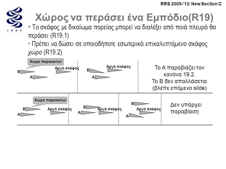 RRS 2009-'12: New Section C Χώρος να περάσει ένα Εμπόδιο(R19) • Το σκάφος με δικαίωμα πορείας μπορεί να διαλέξει από ποιά πλευρά θα περάσει (R19.1) • Πρέπει να δώσει σε οποιοδήποτε εσωτερικά επικαλυπτόμενο σκάφος χώρο (R19.2) ` Αργό σκάφος Χώρο παρακαλώ.