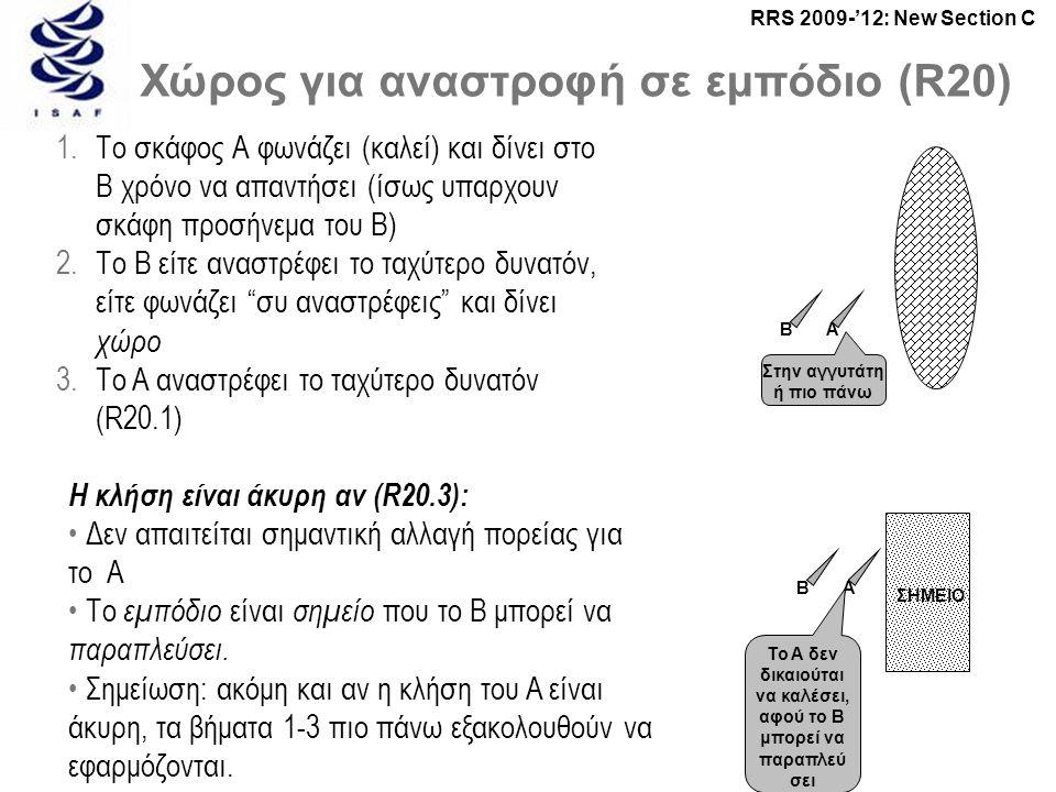 RRS 2009-'12: New Section C Χώρος για αναστροφή σε εμπόδιο (R20) 1.Το σκάφος Α φωνάζει (καλεί) και δίνει στο B χρόνο να απαντήσει (ίσως υπαρχουν σκάφη προσήνεμα του B) 2.Το B είτε αναστρέφει το ταχύτερο δυνατόν, είτε φωνάζει συ αναστρέφεις και δίνει χώρο 3.Το A αναστρέφει το ταχύτερο δυνατόν (R20.1) Η κλήση είναι άκυρη αν (R20.3): • Δεν απαιτείται σημαντική αλλαγή πορείας για το A • Το εμπόδιο είναι σημείο που το B μπορεί να παραπλεύσει.