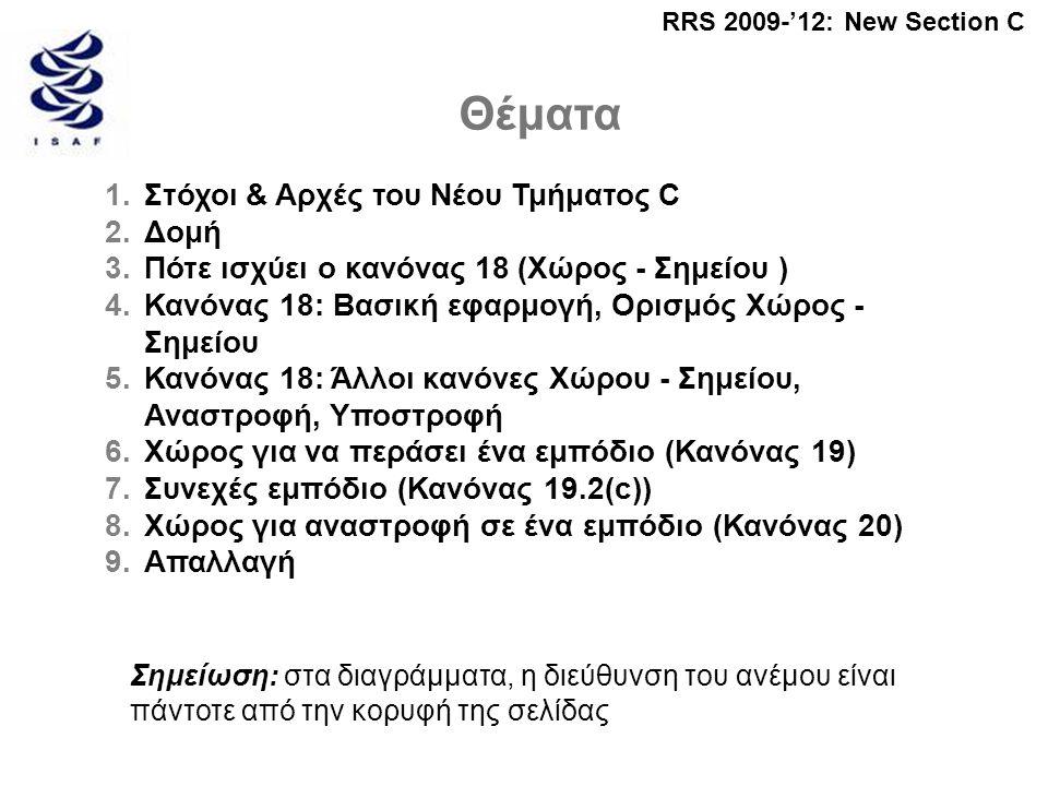 RRS 2009-'12: New Section C Θέματα 1.Στόχοι & Αρχές του Νέου Τμήματος C 2.Δομή 3.Πότε ισχύει ο κανόνας 18 (Χώρος - Σημείου ) 4.Κανόνας 18: Βασική εφαρμογή, Ορισμός Χώρος - Σημείου 5.Κανόνας 18: Άλλοι κανόνες Χώρου - Σημείου, Αναστροφή, Υποστροφή 6.Χώρος για να περάσει ένα εμπόδιο (Κανόνας 19) 7.Συνεχές εμπόδιο (Κανόνας 19.2(c)) 8.Χώρος για αναστροφή σε ένα εμπόδιο (Κανόνας 20) 9.Απαλλαγή Σημείωση: στα διαγράμματα, η διεύθυνση του ανέμου είναι πάντοτε από την κορυφή της σελίδας