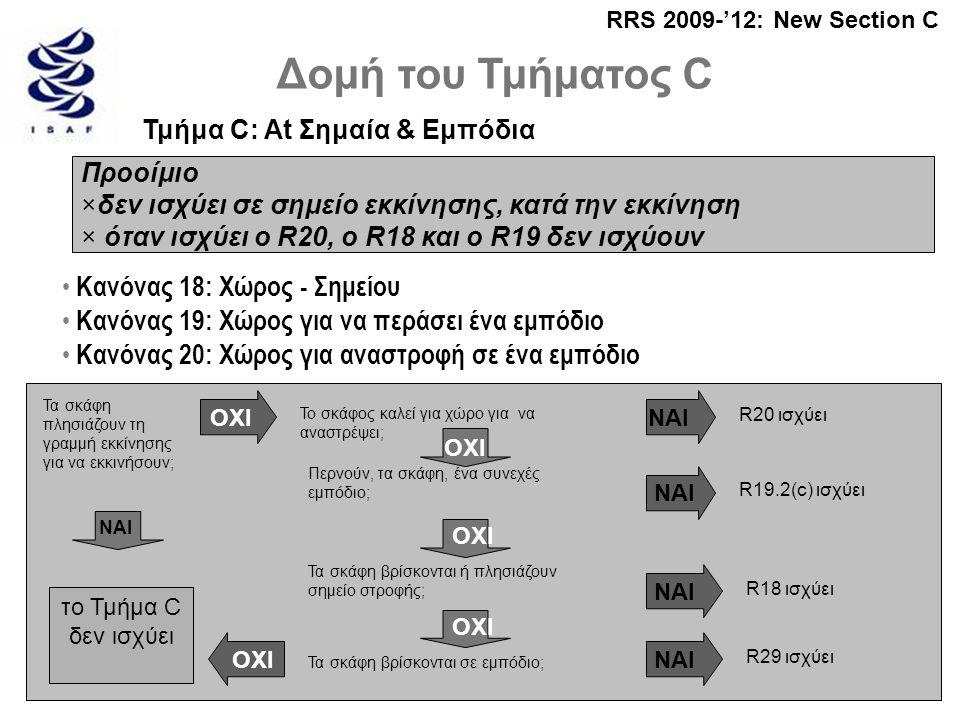 Δομή του Τμήματος C Τμήμα C: At Σημαία & Εμπόδια RRS 2009-'12: New Section C Προοίμιο ×δεν ισχύει σε σημείο εκκίνησης, κατά την εκκίνηση × όταν ισχύει ο R20, ο R18 και ο R19 δεν ισχύουν • Κανόνας 18: Χώρος - Σημείου • Κανόνας 19: Χώρος για να περάσει ένα εμπόδιο • Κανόνας 20: Χώρος για αναστροφή σε ένα εμπόδιο Τα σκάφη πλησιάζουν τη γραμμή εκκίνησης για να εκκινήσουν; το Τμήμα C δεν ισχύει ΝΑΙ Το σκάφος καλεί για χώρο για να αναστρέψει; ΟΧΙ Περνούν, τα σκάφη, ένα συνεχές εμπόδιο; Τα σκάφη βρίσκονται ή πλησιάζουν σημείο στροφής; Τα σκάφη βρίσκονται σε εμπόδιο; ΟΧΙ ΝΑΙ R20 ισχύει R19.2(c) ισχύει R18 ισχύει R29 ισχύει