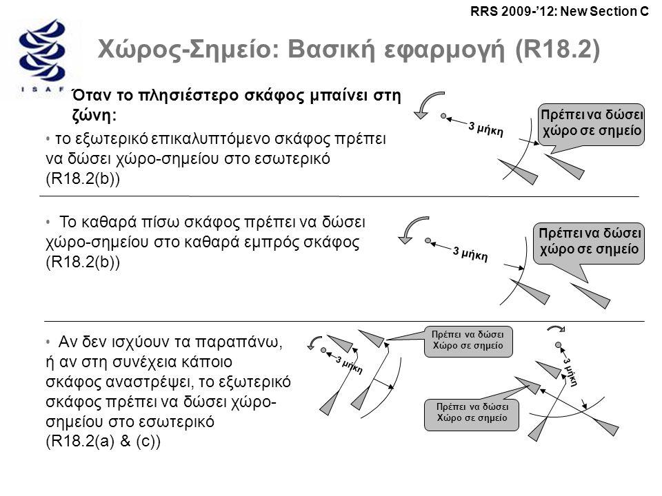 RRS 2009-'12: New Section C 3 μήκη Πρέπει να δώσει χώρο σε σημείο 3 μήκη Πρέπει να δώσει χώρο σε σημείο 3 μήκη Πρέπει να δώσει Χώρο σε σημείο 3 μήκη Πρέπει να δώσει Χώρο σε σημείο Χώρος-Σημείο: Βασική εφαρμογή (R18.2) Όταν το πλησιέστερο σκάφος μπαίνει στη ζώνη: • το εξωτερικό επικαλυπτόμενο σκάφος πρέπει να δώσει χώρο-σημείου στο εσωτερικό (R18.2(b)) • Το καθαρά πίσω σκάφος πρέπει να δώσει χώρο-σημείου στο καθαρά εμπρός σκάφος (R18.2(b)) • Αν δεν ισχύουν τα παραπάνω, ή αν στη συνέχεια κάποιο σκάφος αναστρέψει, το εξωτερικό σκάφος πρέπει να δώσει χώρο- σημείου στο εσωτερικό (R18.2(a) & (c))