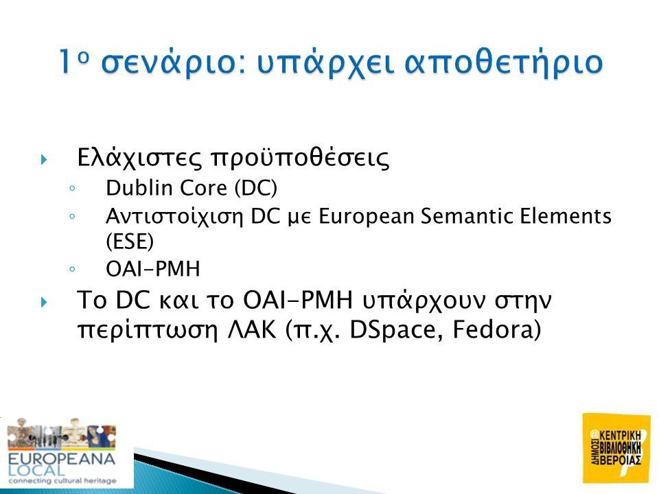  Ελάχιστες προϋποθέσεις ◦ Dublin Core (DC) ◦ Αντιστοίχιση DC με European Semantic Elements (ESE) ◦ OAI-PMH  Το DC και το OAI-PMH υπάρχουν στην περίπ