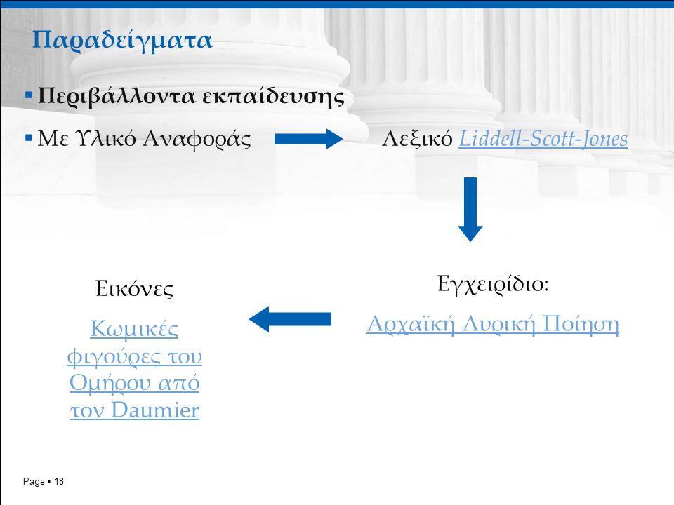 Page  18 Παραδείγματα  Περιβάλλοντα εκπαίδευσης  Με Υλικό Αναφοράς Λεξικό Liddell-Scott-JonesLiddell-Scott-Jones Εγχειρίδιο: Αρχαϊκή Λυρική Ποίηση