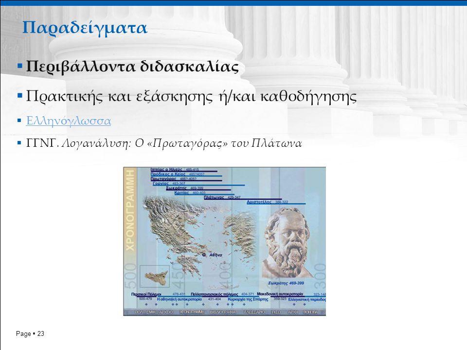 Page  23 Παραδείγματα  Περιβάλλοντα διδασκαλίας  Πρακτικής και εξάσκησης ή/και καθοδήγησης  Ελληνόγλωσσα Ελληνόγλωσσα  ΓΓΝΓ. Λογανάλυση: Ο «Πρωτα