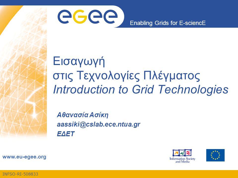 Enabling Grids for E-sciencE INFSO-RI-508833 ΕΚΠΑ, 23/10/2006 32 Βασικές αρχές του Grid (3) •Αποτελεσματική χρήση των πόρων •Αύξηση του αριθμού των χρηστών  Ανεπάρκεια των υπολογιστικών πόρων  Δημιουργία ουρών αναμονής πριν την εκτέλεση μίας εργασίας  Ανάπτυξη αλγορίθμων για την βέλτιστη ανάθεση των εργασιών στους πόρους που διατίθενται  Βέλτιστη ανάθεση:  Αριθμός εργασιών σε μία ουρά αναμονής  Υπολογιζόμενος χρόνος για την εκτέλεση των εργασιών που προηγούνται  Υπολογιστική ισχύς των πόρων