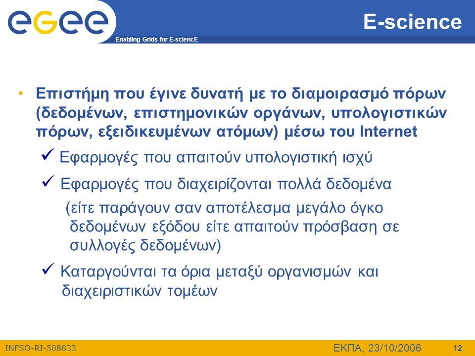 Enabling Grids for E-sciencE INFSO-RI-508833 ΕΚΠΑ, 23/10/2006 12 E-science •Επιστήμη που έγινε δυνατή με το διαμοιρασμό πόρων (δεδομένων, επιστημονικώ