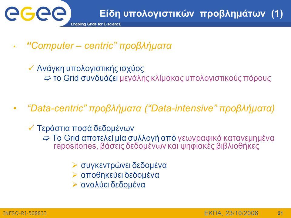 "Enabling Grids for E-sciencE INFSO-RI-508833 ΕΚΠΑ, 23/10/2006 21 Είδη υπολογιστικών προβλημάτων (1) • ""Computer – centric"" προβλήματα  Ανάγκη υπολογι"