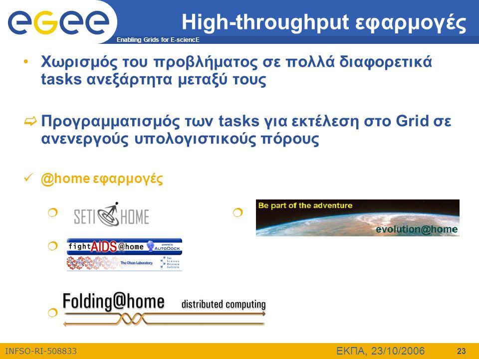 Enabling Grids for E-sciencE INFSO-RI-508833 ΕΚΠΑ, 23/10/2006 23 High-throughput εφαρμογές •Χωρισμός του προβλήματος σε πολλά διαφορετικά tasks ανεξάρ