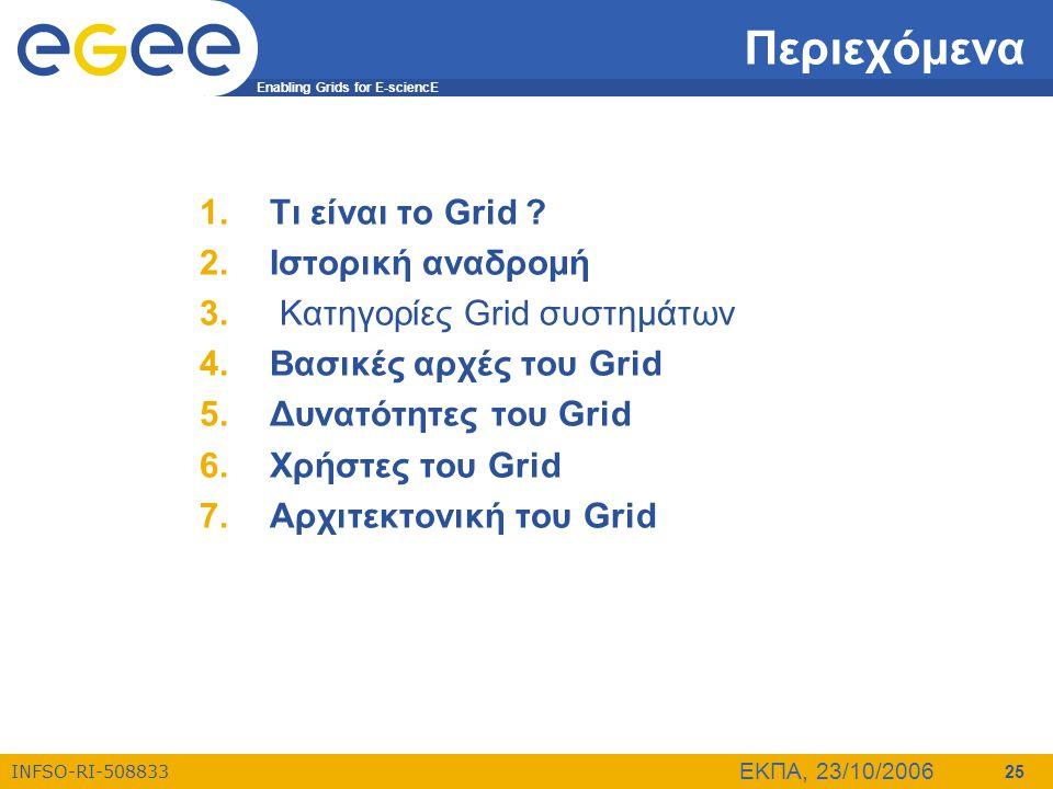 Enabling Grids for E-sciencE INFSO-RI-508833 ΕΚΠΑ, 23/10/2006 25 Περιεχόμενα 1.Τι είναι το Grid ? 2.Ιστορική αναδρομή 3. Κατηγορίες Grid συστημάτων 4.