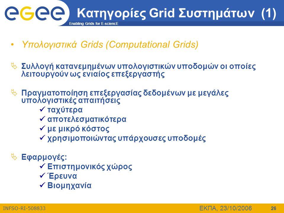 Enabling Grids for E-sciencE INFSO-RI-508833 ΕΚΠΑ, 23/10/2006 26 Κατηγορίες Grid Συστημάτων (1) •Υπολογιστικά Grids (Computational Grids)  Συλλογή κα
