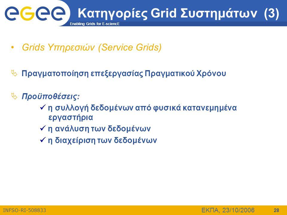 Enabling Grids for E-sciencE INFSO-RI-508833 ΕΚΠΑ, 23/10/2006 28 Κατηγορίες Grid Συστημάτων (3) •Grids Υπηρεσιών (Service Grids)  Πραγματοποίηση επεξ