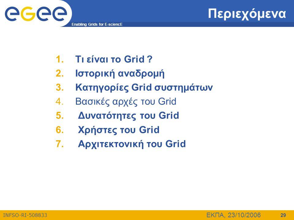 Enabling Grids for E-sciencE INFSO-RI-508833 ΕΚΠΑ, 23/10/2006 29 Περιεχόμενα 1.Τι είναι το Grid ? 2.Ιστορική αναδρομή 3.Κατηγορίες Grid συστημάτων 4.Β