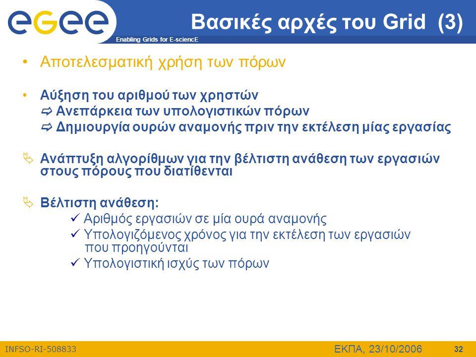 Enabling Grids for E-sciencE INFSO-RI-508833 ΕΚΠΑ, 23/10/2006 32 Βασικές αρχές του Grid (3) •Αποτελεσματική χρήση των πόρων •Αύξηση του αριθμού των χρ