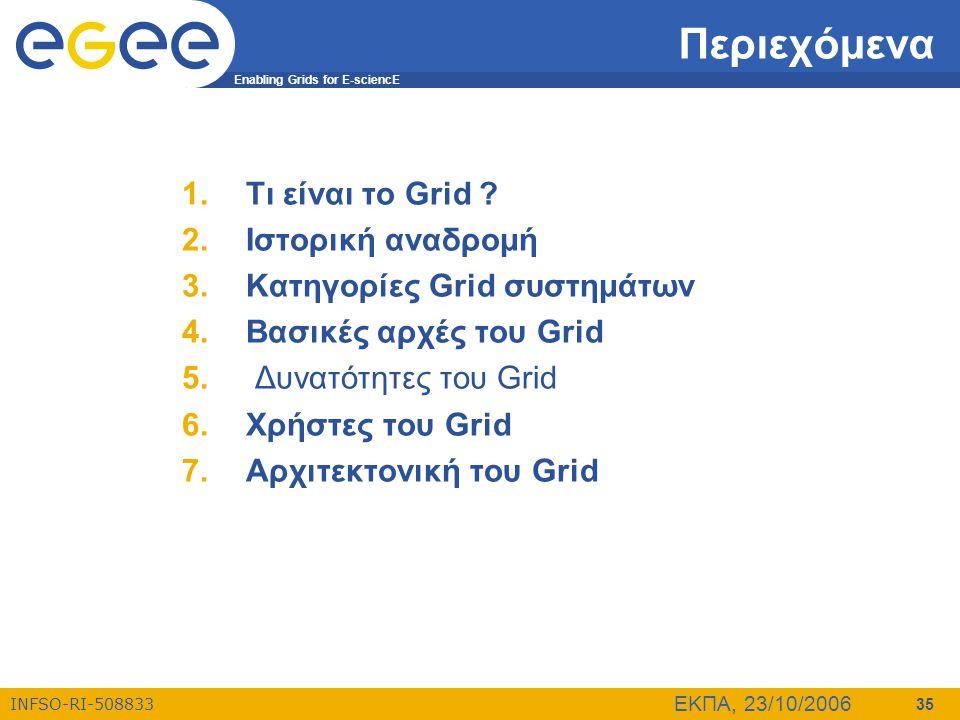 Enabling Grids for E-sciencE INFSO-RI-508833 ΕΚΠΑ, 23/10/2006 35 Περιεχόμενα 1.Τι είναι το Grid ? 2.Ιστορική αναδρομή 3.Κατηγορίες Grid συστημάτων 4.Β