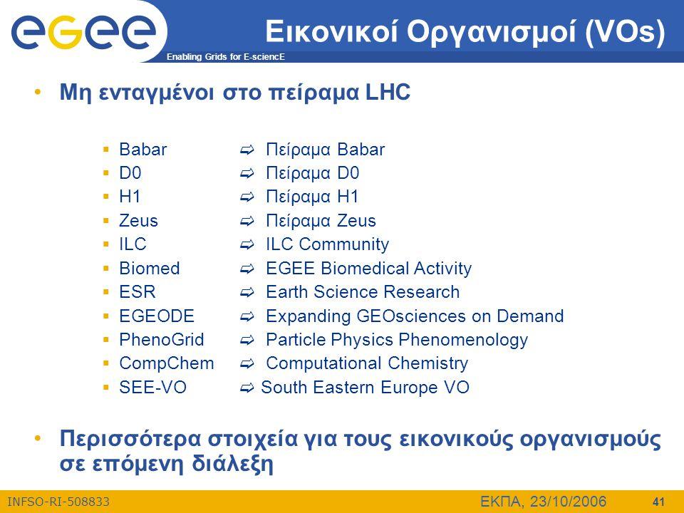 Enabling Grids for E-sciencE INFSO-RI-508833 ΕΚΠΑ, 23/10/2006 41 Εικονικοί Οργανισμοί (VOs) •Μη ενταγμένοι στο πείραμα LHC  Babar  Πείραμα Babar  D