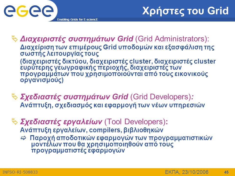 Enabling Grids for E-sciencE INFSO-RI-508833 ΕΚΠΑ, 23/10/2006 45 Χρήστες του Grid  Διαχειριστές συστημάτων Grid (Grid Administrators): Διαχείριση των