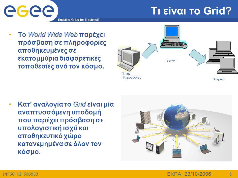 Enabling Grids for E-sciencE INFSO-RI-508833 ΕΚΠΑ, 23/10/2006 46 Αξιοποίηση του Grid (1) •Η κυβέρνηση και Διεθνείς οργανισμοί  Χρήση των ισχυρότερων υπολογιστικών πόρων σε καταστάσεις έκτατης ανάγκης  Έμμεση αντίδραση σε καταστροφές (πλημμύρες, πυρκαγιές)  Ανταλλαγή αρχείων δεδομένων μεταξύ ιδρυμάτων και οργανισμών πιο απλά και πιο αποτελεσματικά  Ανάπτυξη οικονομικών μοντέλων •Εκπαίδευση  Οι ηλεκτρονικές βιβλιοθήκες μπορούν να επωφεληθούν από Grid-based εργαλεία για πρόσβαση σε κατανεμημένα δεδομένα  Η ηλεκτρονική μάθηση μπορεί να επιτευχθεί με τη δημιουργία εικονικών τάξεων με μαθητές, πόρους και εκπαιδευτές που βρίσκονται σε διαφορετικά μέρη