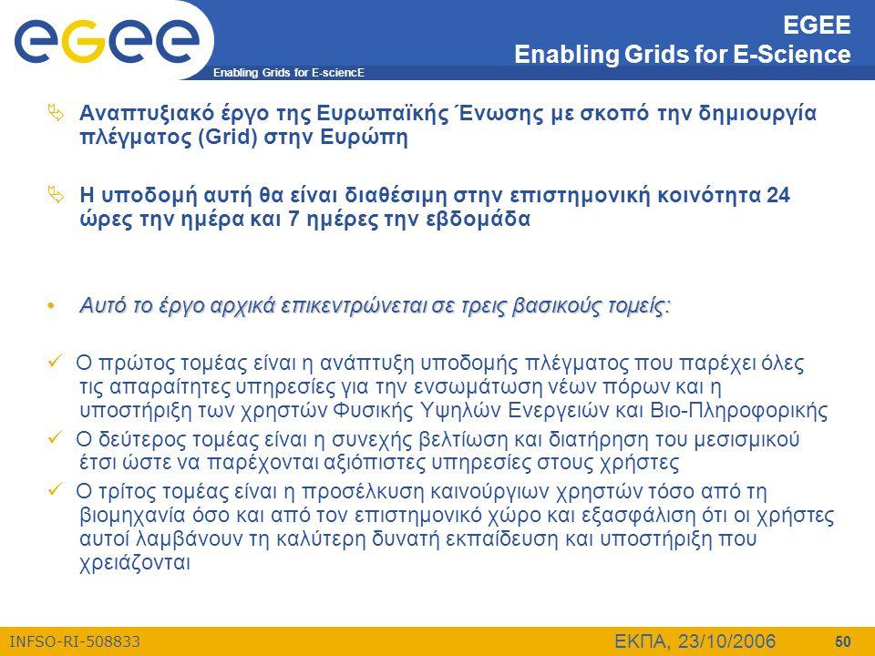 Enabling Grids for E-sciencE INFSO-RI-508833 ΕΚΠΑ, 23/10/2006 50 EGEE Enabling Grids for E-Science  Αναπτυξιακό έργο της Ευρωπαϊκής Ένωσης με σκοπό τ
