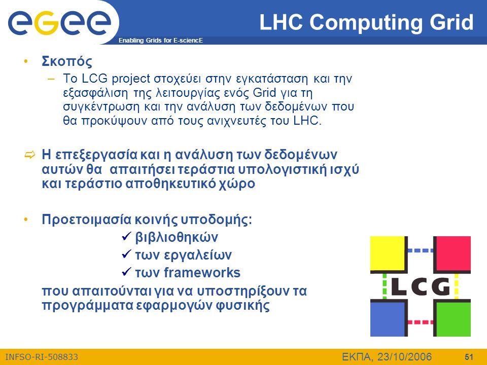Enabling Grids for E-sciencE INFSO-RI-508833 ΕΚΠΑ, 23/10/2006 51 LHC Computing Grid •Σκοπός –Το LCG project στοχεύει στην εγκατάσταση και την εξασφάλι