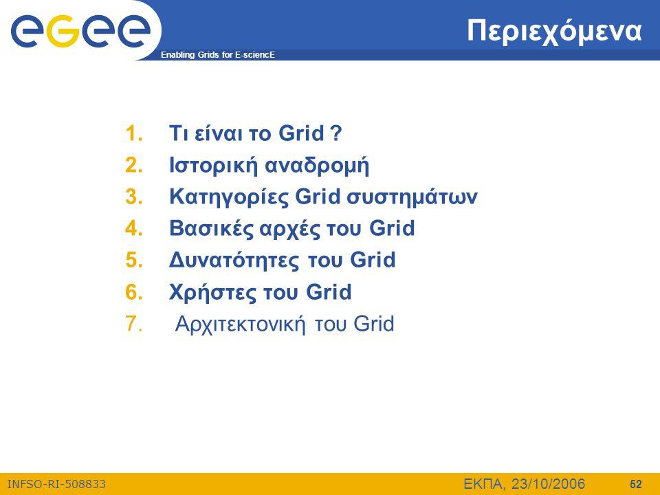 Enabling Grids for E-sciencE INFSO-RI-508833 ΕΚΠΑ, 23/10/2006 52 Περιεχόμενα 1.Τι είναι το Grid ? 2.Ιστορική αναδρομή 3.Κατηγορίες Grid συστημάτων 4.Β