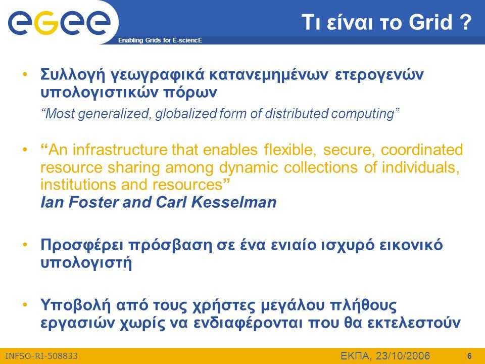 "Enabling Grids for E-sciencE INFSO-RI-508833 ΕΚΠΑ, 23/10/2006 6 Τι είναι το Grid ? •Συλλογή γεωγραφικά κατανεμημένων ετερογενών υπολογιστικών πόρων ""M"