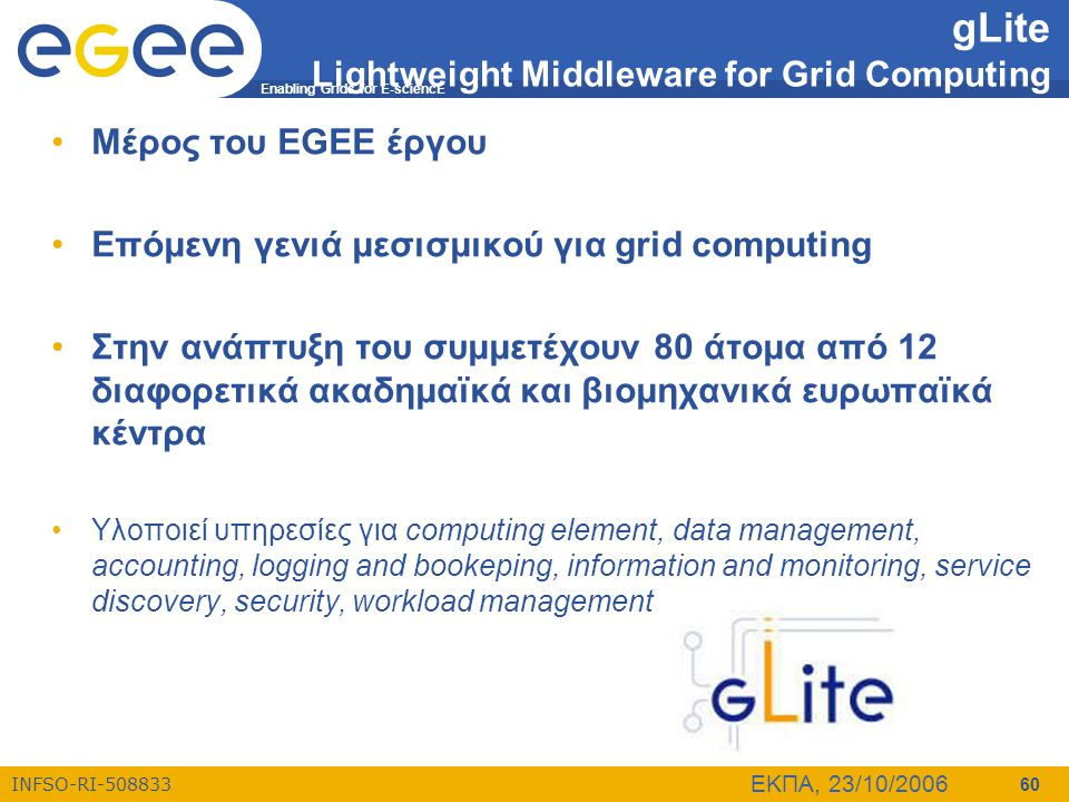 Enabling Grids for E-sciencE INFSO-RI-508833 ΕΚΠΑ, 23/10/2006 60 gLite Lightweight Middleware for Grid Computing •Μέρος του EGEE έργου •Επόμενη γενιά