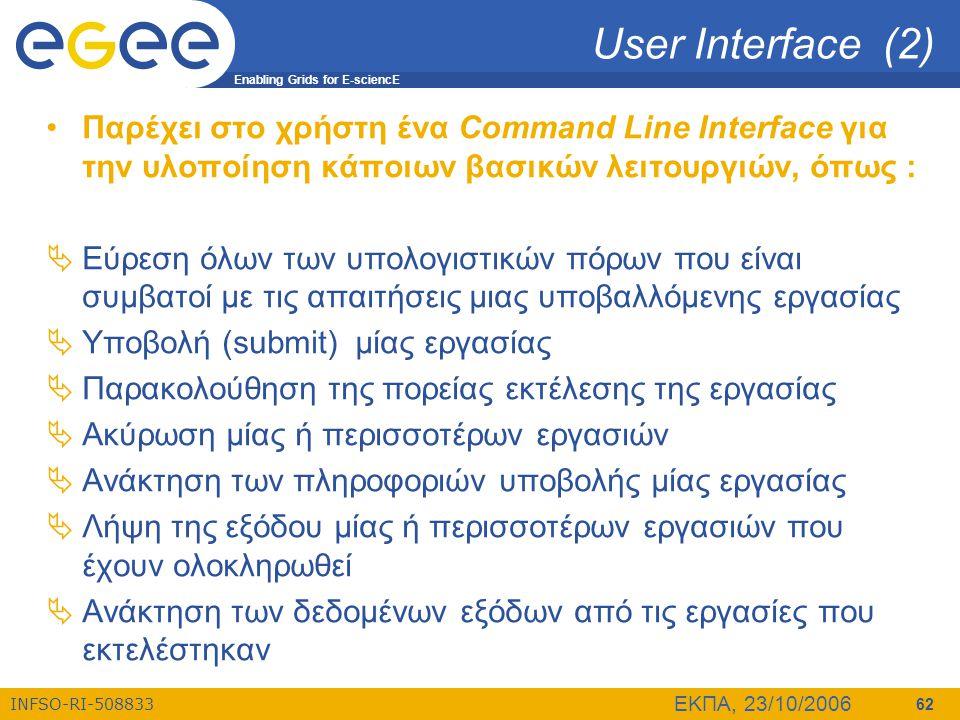 Enabling Grids for E-sciencE INFSO-RI-508833 ΕΚΠΑ, 23/10/2006 62 User Interface (2) •Παρέχει στο χρήστη ένα Command Line Interface για την υλοποίηση κ
