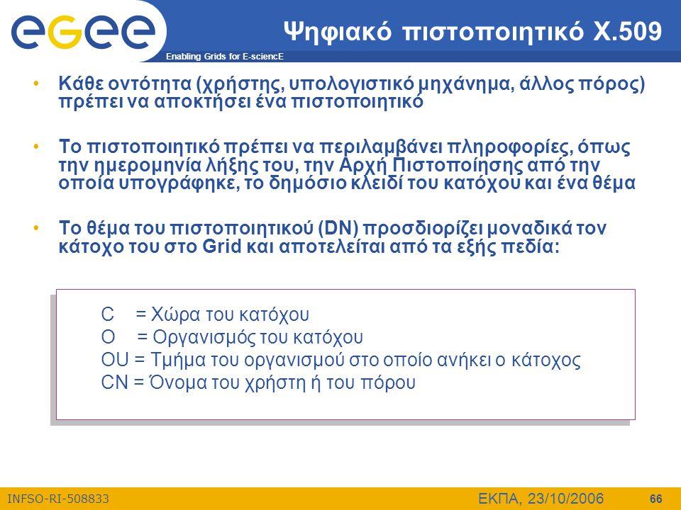 Enabling Grids for E-sciencE INFSO-RI-508833 ΕΚΠΑ, 23/10/2006 66 Ψηφιακό πιστοποιητικό Χ.509 •Κάθε οντότητα (χρήστης, υπολογιστικό μηχάνημα, άλλος πόρ