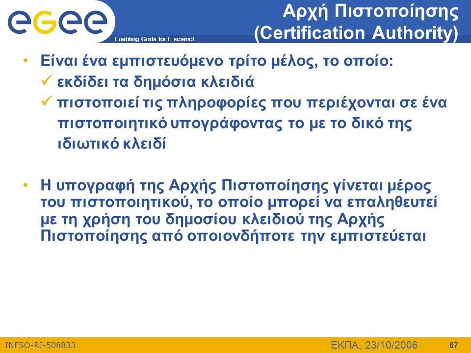 Enabling Grids for E-sciencE INFSO-RI-508833 ΕΚΠΑ, 23/10/2006 67 Αρχή Πιστοποίησης (Certification Authority) •Είναι ένα εμπιστευόμενο τρίτο μέλος, το