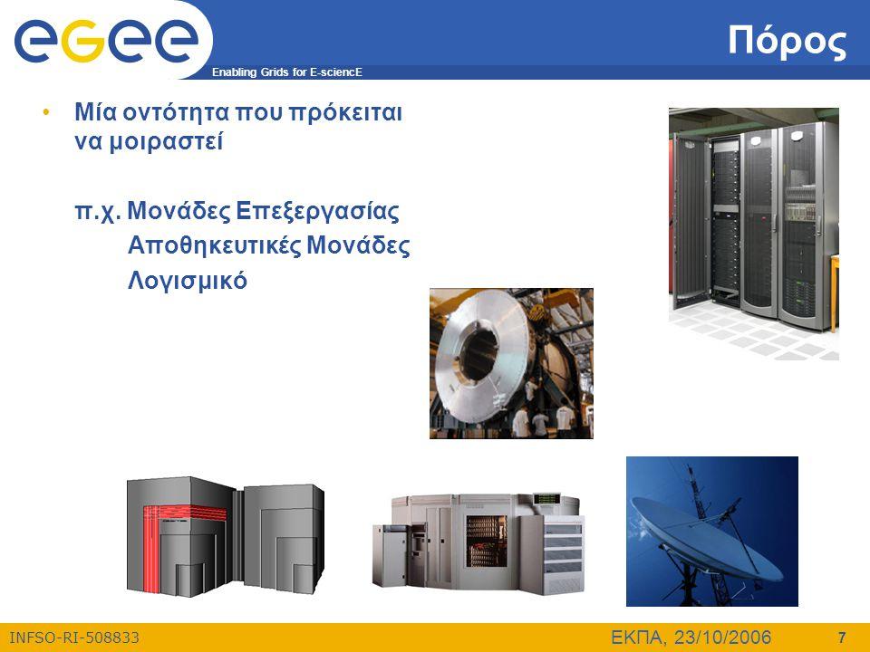 Enabling Grids for E-sciencE INFSO-RI-508833 ΕΚΠΑ, 23/10/2006 7 Πόρος •Μία οντότητα που πρόκειται να μοιραστεί π.χ. Μονάδες Επεξεργασίας Αποθηκευτικές