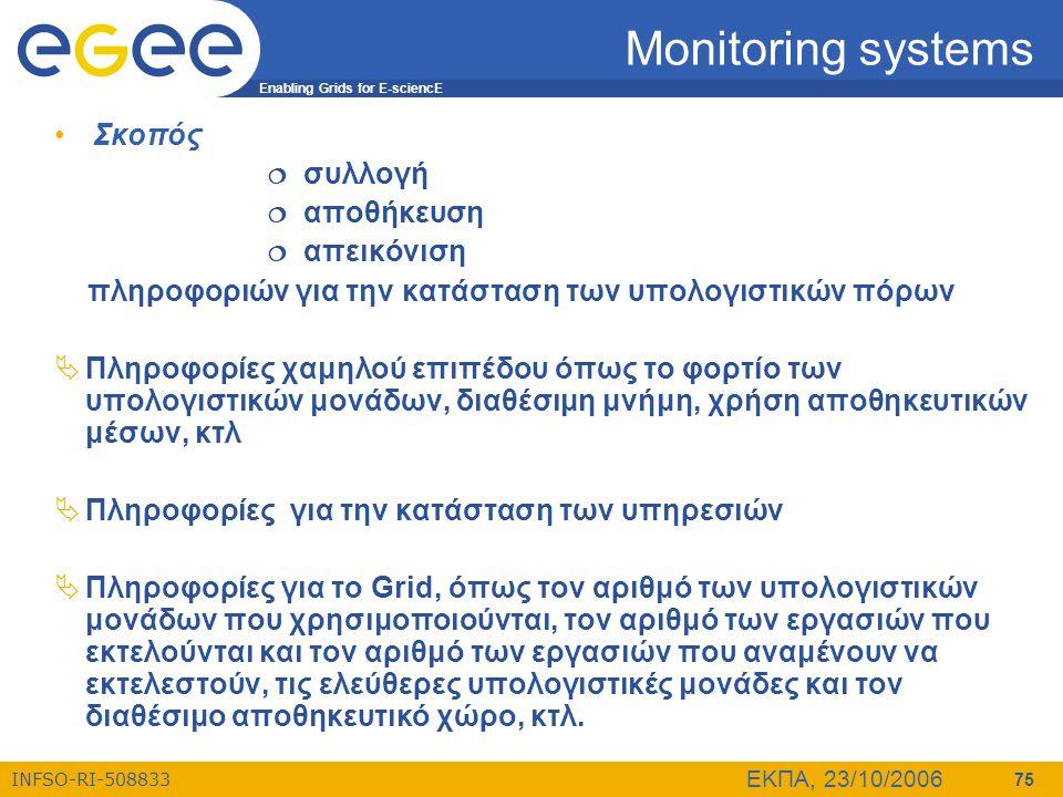 Enabling Grids for E-sciencE INFSO-RI-508833 ΕΚΠΑ, 23/10/2006 75 Monitoring systems • Σκοπός  συλλογή  αποθήκευση  απεικόνιση πληροφοριών για την κ