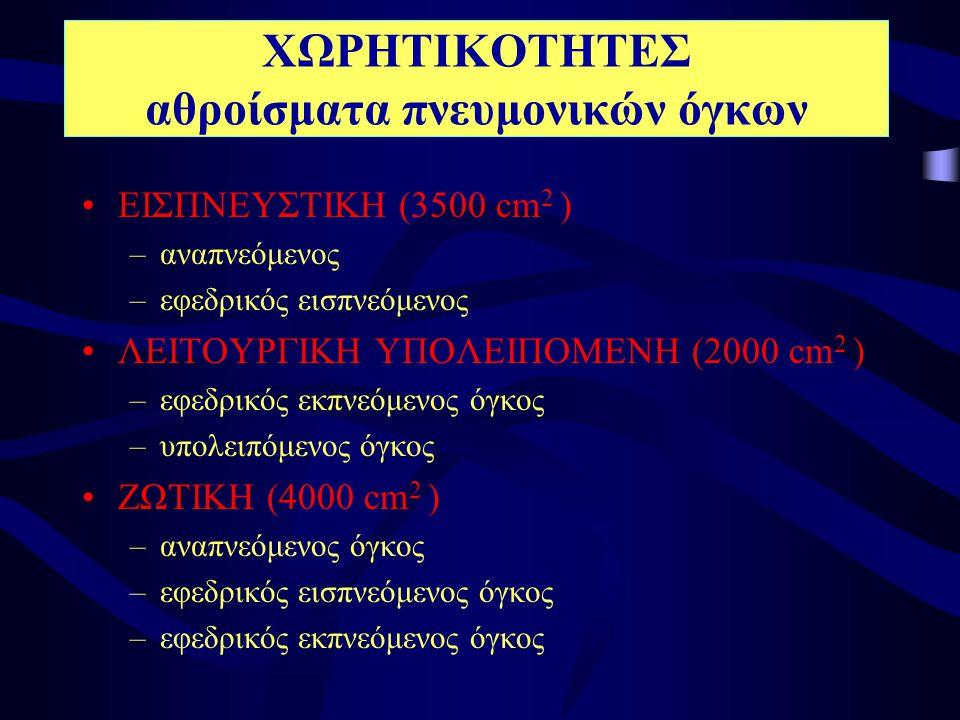 ΧΩΡΗΤΙΚΟΤΗΤΕΣ αθροίσματα πνευμονικών όγκων •ΕΙΣΠΝΕΥΣΤΙΚΗ (3500 cm 2 ) –αναπνεόμενος –εφεδρικός εισπνεόμενος •ΛΕΙΤΟΥΡΓΙΚΗ ΥΠΟΛΕΙΠΟΜΕΝΗ (2000 cm 2 ) –εφ