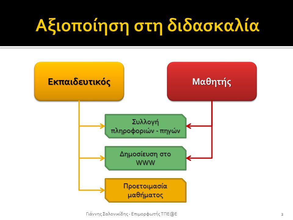 Γιάννης Σαλονικίδης - Επιμορφωτής ΤΠΕ@Ε2 ΕκπαιδευτικόςΕκπαιδευτικόςΜαθητήςΜαθητής Συλλογή πληροφοριών - πηγών Δημοσίευση στο WWW Προετοιμασία μαθήματο
